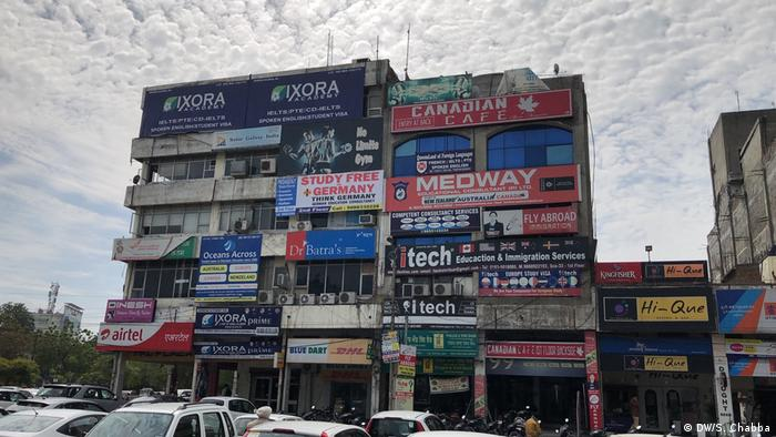 The external view of a market in Amritsar, Punjab, where hundreds of IELTS centers are mushrooming