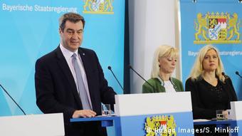 Премьер Баварии Маркус Зёдер на пресс-конференции