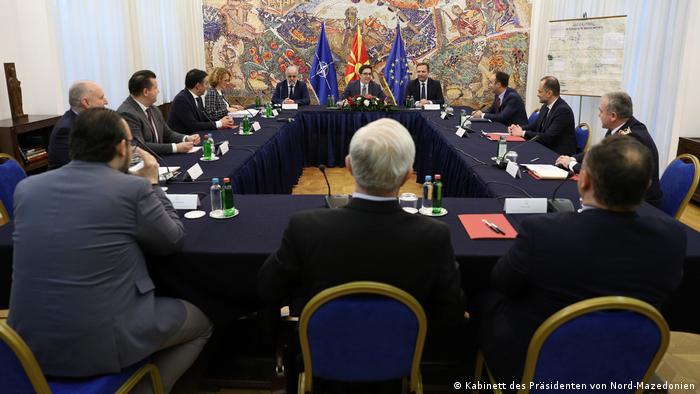 Nord-Mazedonien | Coronavirus | Pressebilder Kabinett des Präsidenten | Sicherheitsrat
