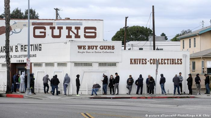 People waiting in line outside a gun store in Culver City, California