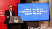 Datum: 16.03.2020 Venko Filipce, Gesundheitsminister Rechte: Regierung Nordmazedoniens Zulieferung: Boris Georgievski