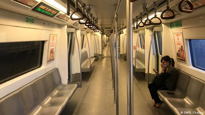 Empty metro cars in Delhi.