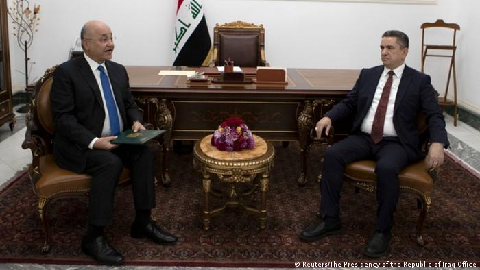 Iraq's President Barham Salih meets with new prime minister-designate Adnan al-Zurfi in Baghdad, Iraq