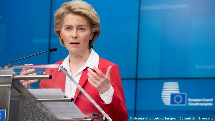 Ursula von der Leyen addresses EU leaders by teleconference earlier this week.