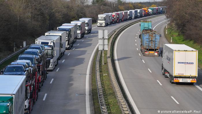 Trucks bumper to bumper on a German highway toward Poland