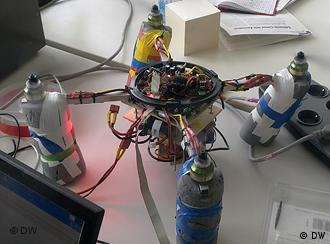 Image of a prototype quadrocopter on a work bench