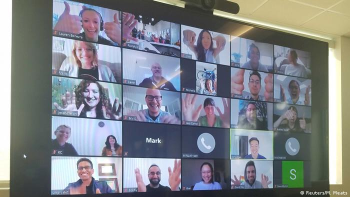 A video conferencing session at Memphis Meats in Berkeley, California