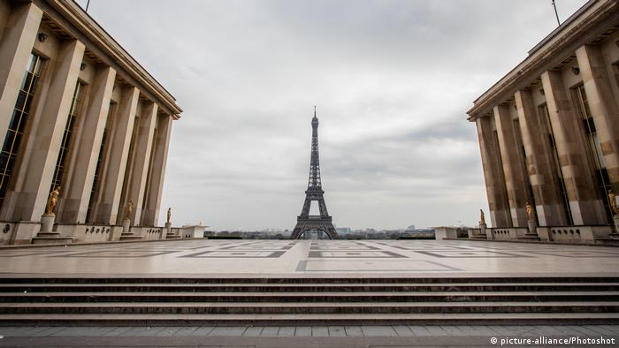 Trocadero Plaza, with the Eifel Tower in the background, remains abandoned