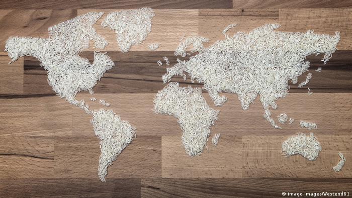 Weltkarte aus Reiskörnern