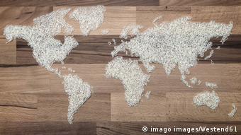 Weltkarte Reiskörner