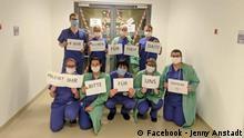 Wir bleiben für euch da!!! - Bleibt ihr bitte für uns dahein!!! Jenny Anstadt - Universitätsklinikum des Saarlandes, 17. März 2020 © Facebook - Jenny Anstadt