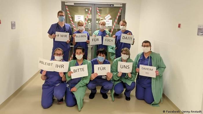 Сотрудники университетской клиники в земле Саар обратились с просьбой: Мы находимся здесь ради вас. Пожалуйста, ради нас, оставайтесь дома!