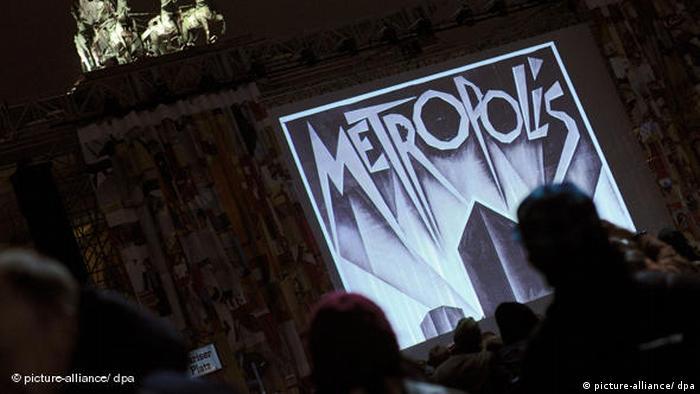 A screening of film 'Metropolis' near Brandenburg Gate