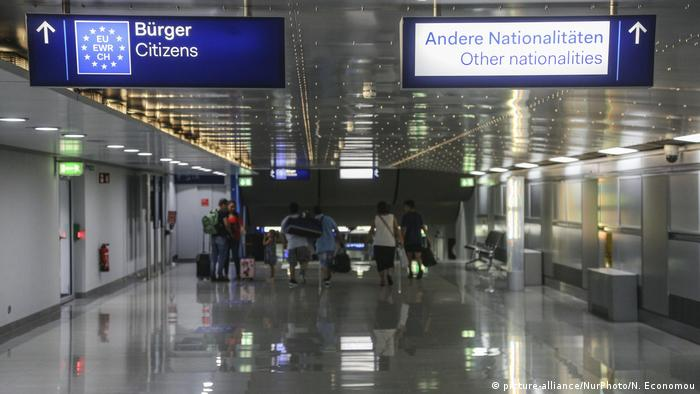 EU citizen signs at the arrivals in Dusseldorf International Airport in Germany