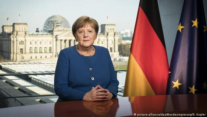 Angela Merkel durante el discurso a la nación sobre el coronavirus. (18.03.2020).