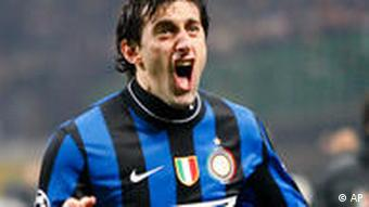 Inter Milan's Argentine forward Diego Milito celebrates after scoring during a Champions League, round of 16, first leg soccer match between Inter Milan and Chelsea at the San Siro stadium in Milan, Italy, Wednesday, Feb. 24, 2010.