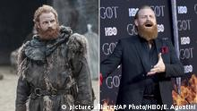 This combination photo shows Kristopfer Hivju at HBO's Game of Thrones final season premiere in New York on April 3, 2019, right, and his character Tormund Giantsbane. (Photos by HBO, left, and Evan Agostini/Invision/AP) |