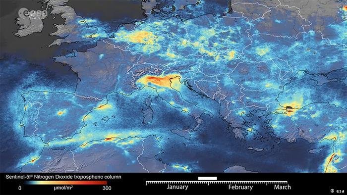 esa: Luftverbesserung in Italien wegen Coronavirus