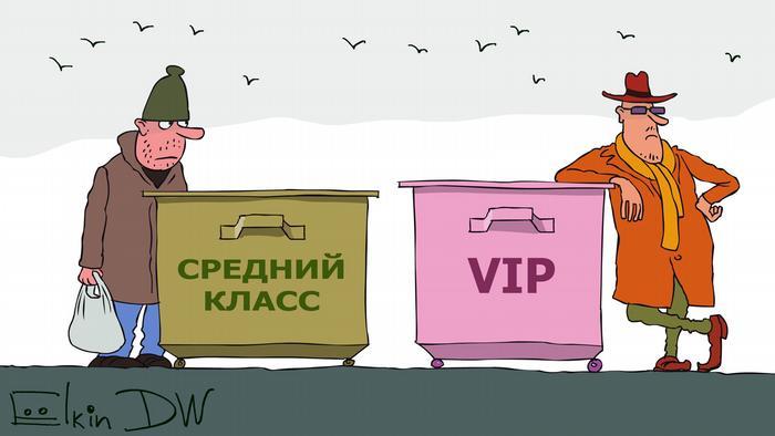 Карикатура - бедный мужчина стоит рядом с темным мусорным контейнером Средний класс, богатый - рядом с розовым VIP