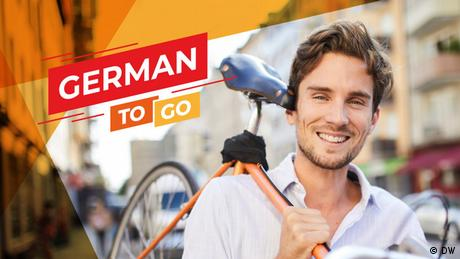 Ad of a man holding a bike text reads German to go