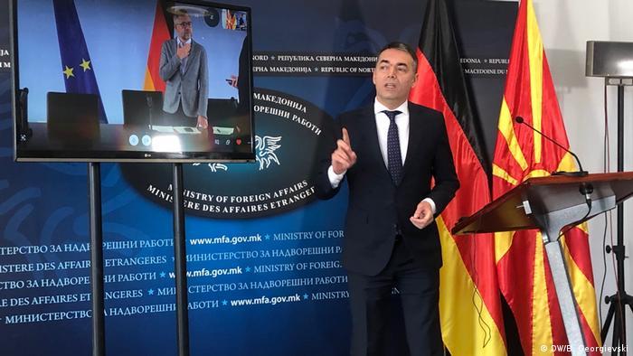 Nord-Mazedonien Video-Konferenz Nikola Dimitrov und Michael Roth