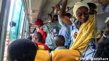 Coronavirus cases in Tanzania Keywords: Tanzania, coronavirus, COVID-19, Dar es Salaam Photographer: Ericky Boniphace - DW Photo taken on 19.03.2020 Photo taken in Dar es Salaam Commuters crammed in a public transport van (daladala) in Dar es Salaam on 19.03.2020. Tanzanian government has asked public transport operators to reduce the number of passengers so as to minimize the spread of COVID-19