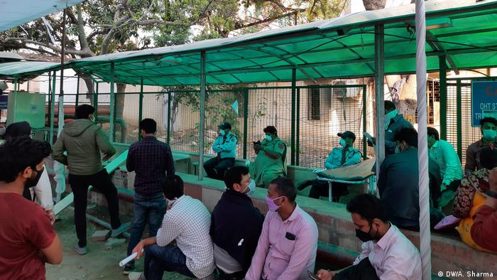 Coronavirus testing center at New Delhi's Ram Manohar Lohiya Hospital
