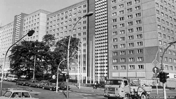 Black and white photo of the high-rise buildings of the Stasi headquarters in former East Berlin, in 1985.