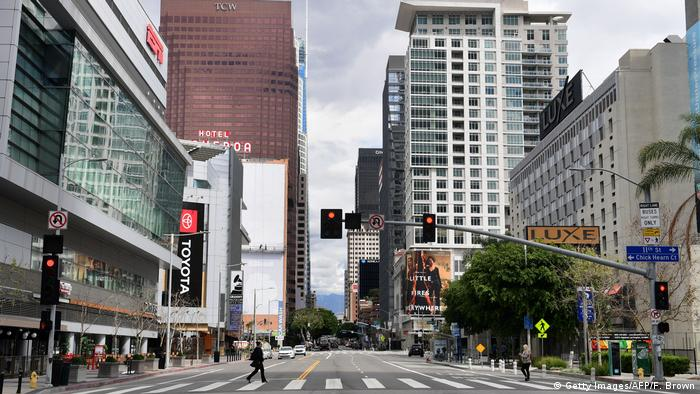 A largely empty street in Los Angeles
