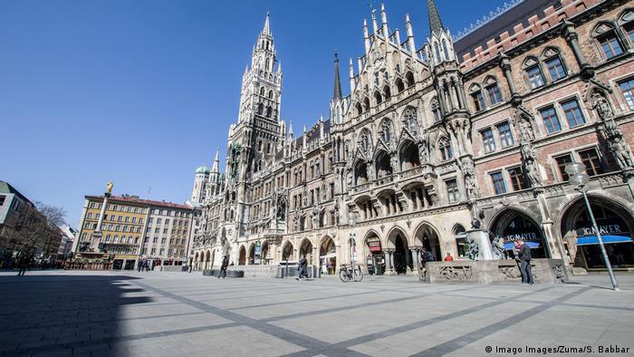 An empty Marienplatz in Munich, Germany