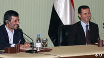 President Bashar Al-Assad and Iran's Mahmoud Ahmadinejad