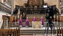 A church in Trier films its church service for online and TV
