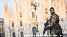 20 March 2020 Milano (Italy).From tomorrow the army will be deployed in Milan to control the movement of the population during the coronavirus emergency.In the photo: Military in Piazza Duomo (Credit Image: © Claudio Furlan/LaPresse via ZUMA Press |