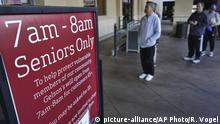 A sign is posted outside a Gelson's supermarket that opened special morning hours to serve seniors 60-years and older due to coronavirus concerns, Friday, March 20, 2020, in the Sherman Oaks section of Los Angeles on Friday, March 20, 2020. California's 40 million people are all but confined to their homes in the nation's biggest lockdown yet, as America's governors watch with growing alarm as southern Europe buckles under the strain of the coronavirus outbreak. (AP Photo/Richard Vogel) |