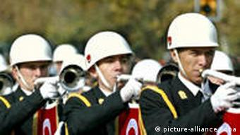 A Turkish military school's marching band