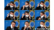 A combination of picture shows Brazil's President Jair Bolsonaro adjusting his protective face mask during a press statement to announce federal judiciary measures to curb the spread of the coronavirus disease (COVID-19) in Brasilia, Brazil March 18, 2020. Pictures taken March 18, 2020. REUTERS/Adriano Machado TPX IMAGES OF THE DAY