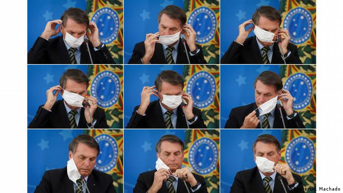 Montagem com fotos do presidente Jair Bolsonaro vestindo uma máscara