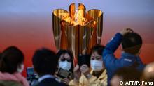 Japan Tokio Bahnhof Sendai Olympische Flamme