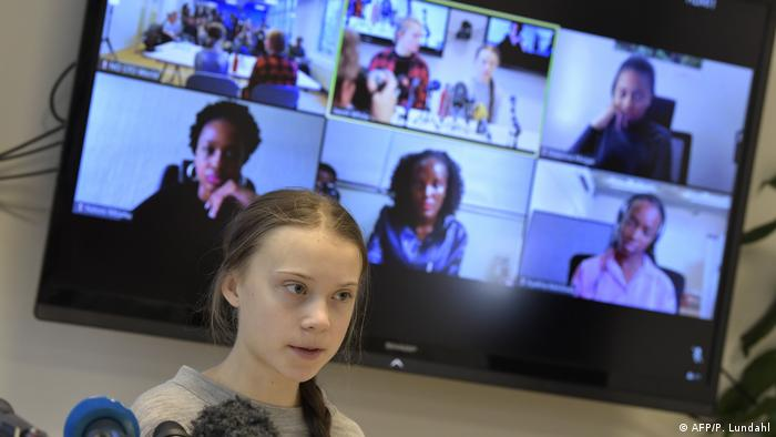 This file photo taken on January 31, 2020 in Stockholm shows Swedish climate activist Greta Thunberg giving a press conference during a video conference