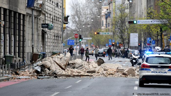A street in Zagreb following Sunday's earthquake