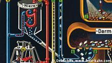 """Ausstellung """"Fritz Kahn – Maschine Mensch"""" im Berliner Medizinhistorischen Museum der Charité 22. Januar - 11. April 2010 Dr. Fritz Kahn war ein Berliner Arzt und Wissenschaftsautor, der Bau und Funktionsweise des Menschen mit spektakulär modernen Mensch-Maschine-Analogien veranschaulichte. Sein Hauptwerk, die fünfbändige Reihe """"Das Leben des Menschen"""" (1922–1931), galt in den zwanziger Jahren als deutsche Leistung von Weltrang. In den dreißiger Jahren wurde es verbrannt und verboten. Copyright: Debschitz, www.fritz-kahn.com"""