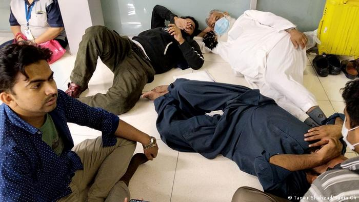 Pakistani passengers stuck at Bangkok Airport after Pakistan suspended all international flights.