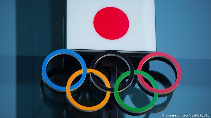 Флаг Японии и олимпийские кольца