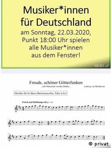Call to action saying Musicians for Germany – on Sunday, 22 March 2020, at 6:00 p.m. on the dot, all musicians play out of their windows. Below that: a score with the melody to the Ode to Joy