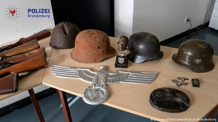 Seized Nazi memorabilia are presented to the public