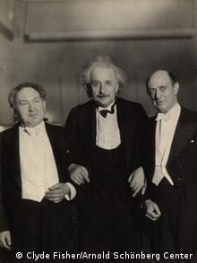 Left to right: Composer Leopold Godowsky, Physicist Albert Einstein, Composer Arnold Schoenberg at Carnegie Hall, April 1, 1934, for a concert in honor of Einstein (Clyde Fisher/Arnold Schönberg Center)