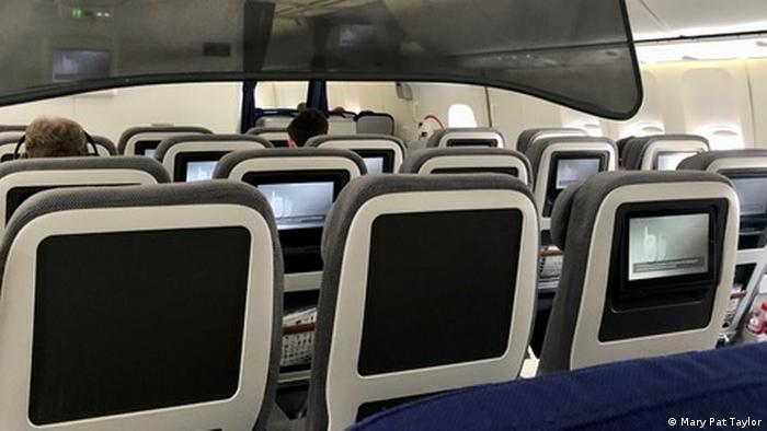 Mostly empty cabin of plane