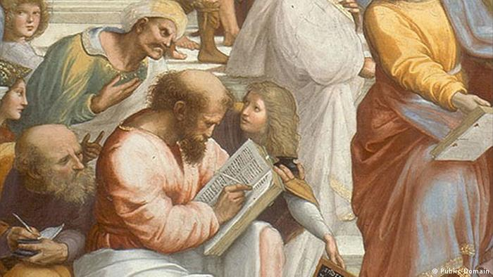 Part of Raphael's painting 'The School of Athens,' showing Greek philosopher Pythagoras