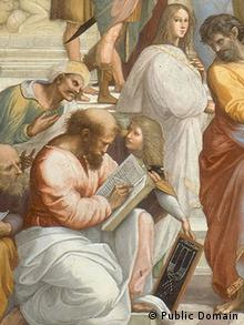 Crop of a painting called The School of Athens, a fresco by the Italian Renaissance artist Raphael. It shows Pythagoras among 21 ancient philosophers.
