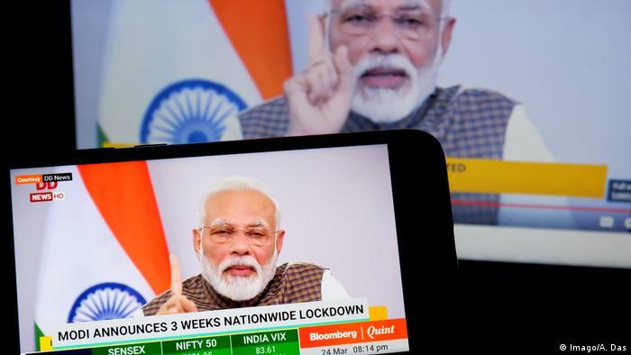 Indien, Kalkutta: Premierminister Narendra Modi verkündet Lockdown (Imago/A. Das)